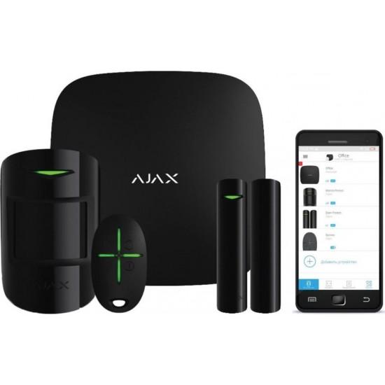Ajax Starter Kit Black 7563(003) - Πακέτο ασύρματου συναγερμού επεκτάσιμο - Επικοινωνία μέσω LAN / GPRS / GSM