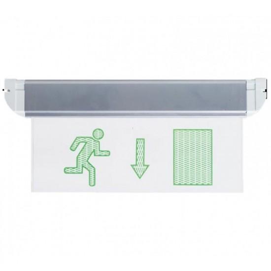 Φωτιστικό Ασφαλείας - Πινακίδα Εξόδου με κατεύθυνση Διπλής Πρόσοψης EL4LED MAN 2D DOWN