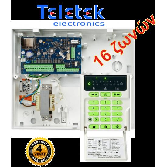 Σετ Πίνακας Συναγερμού Teletek Eclipse16 και Πληκτρολόγιο Teletek Eclipse LED16A.Υποστηρίζει 16 ζώνες