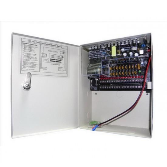 Τροφοδοτικό Καμερών Switching Κλειστού Τύπου 10A σε μεταλλικό κουτί για 18 κάμερες με έξοδο φόρτισης μπαταρίας