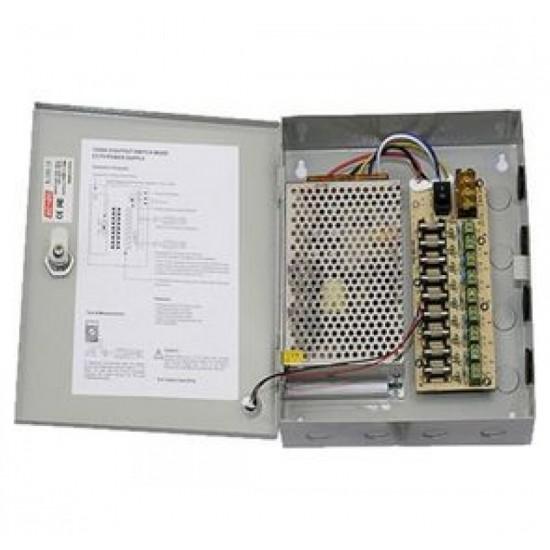 Τροφοδοτικό Καμερών Switching Κλειστού Τύπου 10A σε μεταλλικό κουτί για 9 κάμερες