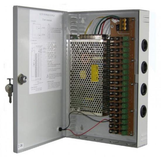 Τροφοδοτικό Καμερών Switching Κλειστού Τύπου 20A σε μεταλλικό κουτί για 18 κάμερες