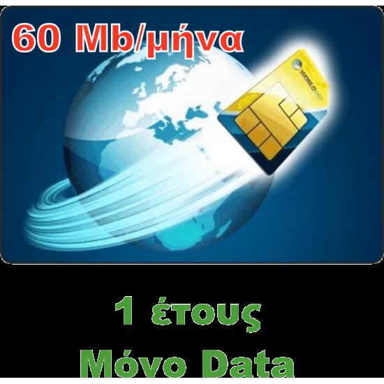 Υπηρεσία GPRS / GSM με Κάρτα SIM Global Ετήσια μόνο Data