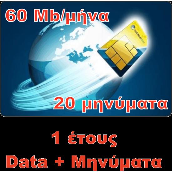 Υπηρεσία GPRS / GSM με Κάρτα SIM Global Ετήσια για Data και μηνύματα